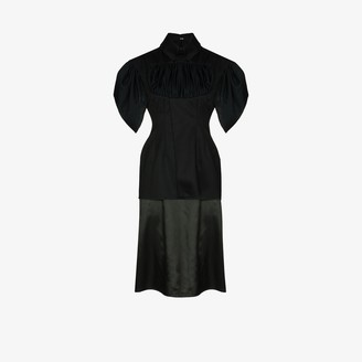 Richard Malone Handwoven Organic Drape Midi Dress