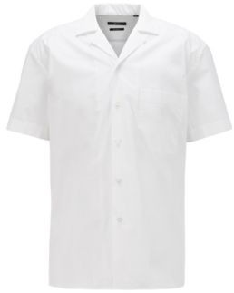 HUGO BOSS Relaxed Fit Shirt In Stretch Cotton With Camp Collar - White