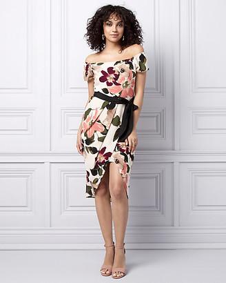 Le Château Floral Print Off-the-Shoulder Dress