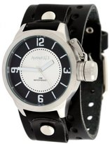 Nemesis #B032KS Men's Premium Wide Leather Cuff Band Russian Diver Watch