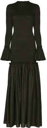 ESCVDO Tsuma smocked maxi dress