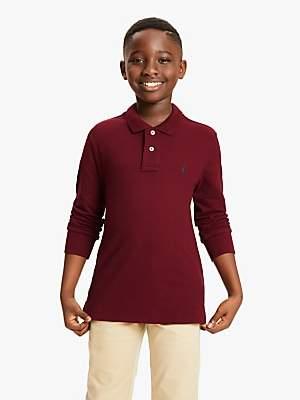 Ralph Lauren Polo Boys' Long Sleeve Polo Shirt, Burgundy