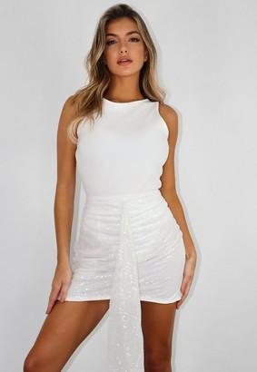 Missguided Tall White Co Ord Sequin Drape Mini Skirt