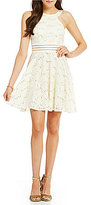 Jodi Kristopher High Neck Sequin Lace Illusion Banded Waist A-line Dress