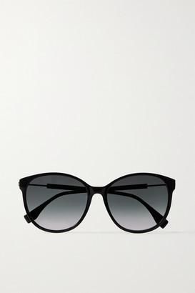 Fendi Round-frame Acetate And Gold-tone Sunglasses - Black
