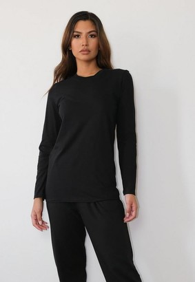 Missguided Black Crown Heights Graphic Long Sleeve T Shirt