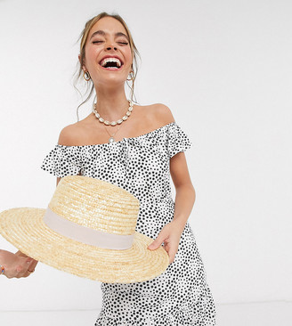 Asos DESIGN Petite mini bardot sundress with ruffle hem in mono ditsy floral print
