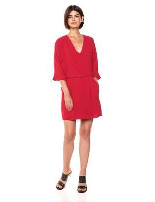 Halston Women's Kimono Sleeve Faux Wrap Dress