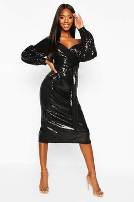 boohoo Sequin Off The Shoulder Tie Waist Midi Dress