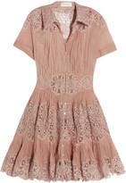 Zimmermann Winsome Cotton-gauze And Lace Mini Dress - Antique rose