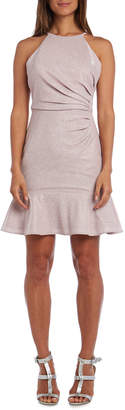 Night Way Nightway Metallic Side Ruched Short Halter Dress