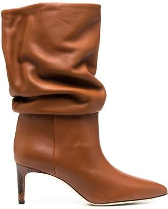 Paris Texas Snakeskin-Effect Heel Slouchy Boots