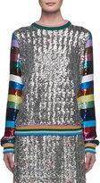 Mary Katrantzou Magpie Sequined Stripe-Sleeve Crewneck Sweater