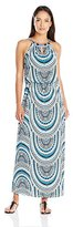 London Times Women's Petite Tribal Disc Halter Blouson Maxi Dress with Beading Detail