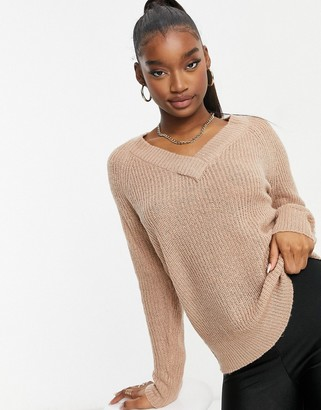 Brave Soul max V neck jumper in almond