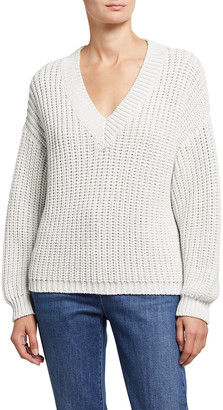 Brunello Cucinelli Wet Effect V-Neck Sweater
