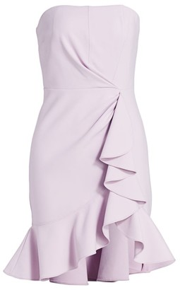 Cinq à Sept Cassandra Strapless Ruffle Sheath Dress