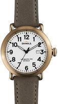 Shinola 41mm Runwell Leather Watch, Gray