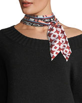 Fendi Double-Sided Wrappy Skinny Silk Scarf