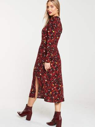 Warehouse Floral Leopard Print Midi Dress - Burgundy