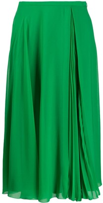 Paule Ka pleat-insert A-line midi skirt