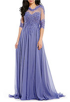 Terani Couture Beaded Lace Chiffon Bodice Gown