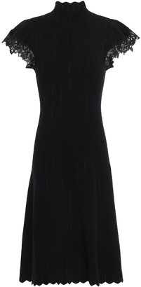 Rebecca Taylor Lace-trimmed Pointelle-knit Dress