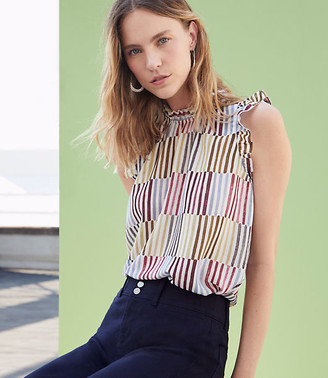 LOFT Striped Ruffle Shell