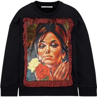 Stella McCartney Fringed Printed Velvet-paneled French Cotton-terry Sweatshirt