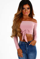 Pink Boutique Your Bow Pink Bow Front Bardot Crop Top