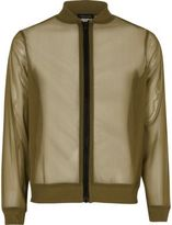 River Island Girls Khaki mesh bomber jacket
