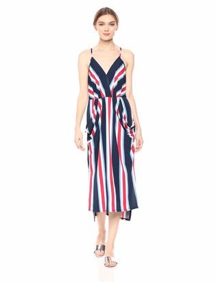 BCBGeneration Women's Bold Stripe Surplice Midi Dress