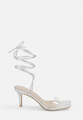 Missguided Silver Strappy Stiletto Low Heels