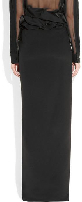 Givenchy Black silk cady long skirt
