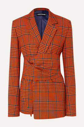 House of Holland Knotted Prince Of Wales Checked Wool-blend Blazer - Orange
