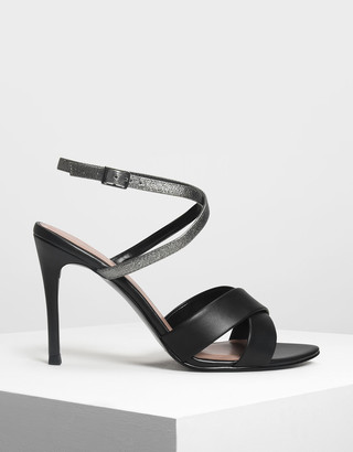 Charles & Keith Two-Tone Criss Cross Heeled Sandals