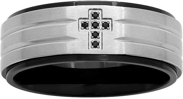 JCPenney MODERN BRIDE Mens Color-Enhanced Black Diamond-Accent Cross 8mm Band