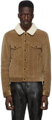 Saint Laurent Brown Shearling and Corduroy Trucker Jacket