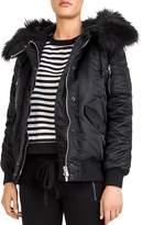 The Kooples Faux-Fur Trimmed Coat