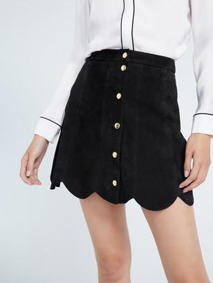 Alice + Olivia Rudie Suede Scallop Mini Skirt