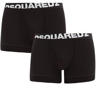 DSQUARED2 Pack Of Two Logo-jacquard Cotton-blend Trunks - Black