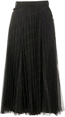 Brunello Cucinelli Windowpane Print Pleated Midi Skirt