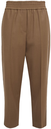 Brunello Cucinelli Cropped Bead-embellished Twill Tapered Pants