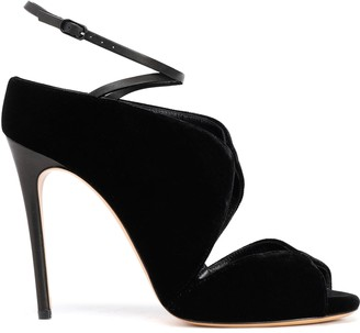 Casadei Faux Leather-trimmed Suede Sandals
