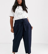 Asos DESIGN Curve tailored tie waist tapered ankle grazer trousers