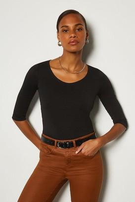 Karen Millen Cotton 3/4 Sleeve Scoop Neck T-Shirt