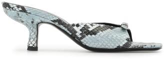 BY FAR Snake Print Sandals
