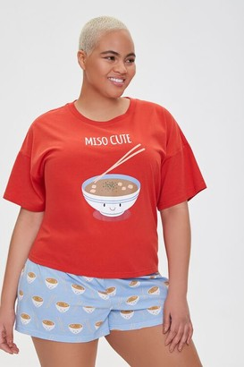Forever 21 Plus Size Miso Cute Graphic Pajama Set