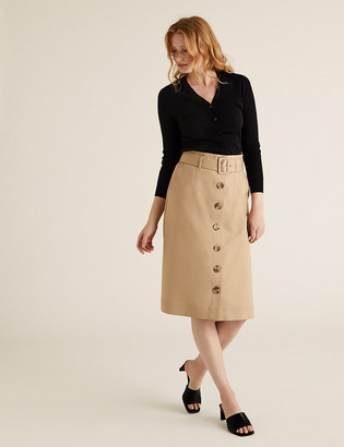 Marks and Spencer Button Front Midi A-Line Skirt