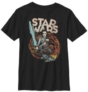 Star Wars Big Boys Millennium Falcon Galaxy Lightsaber Rey Short Sleeve T-Shirt